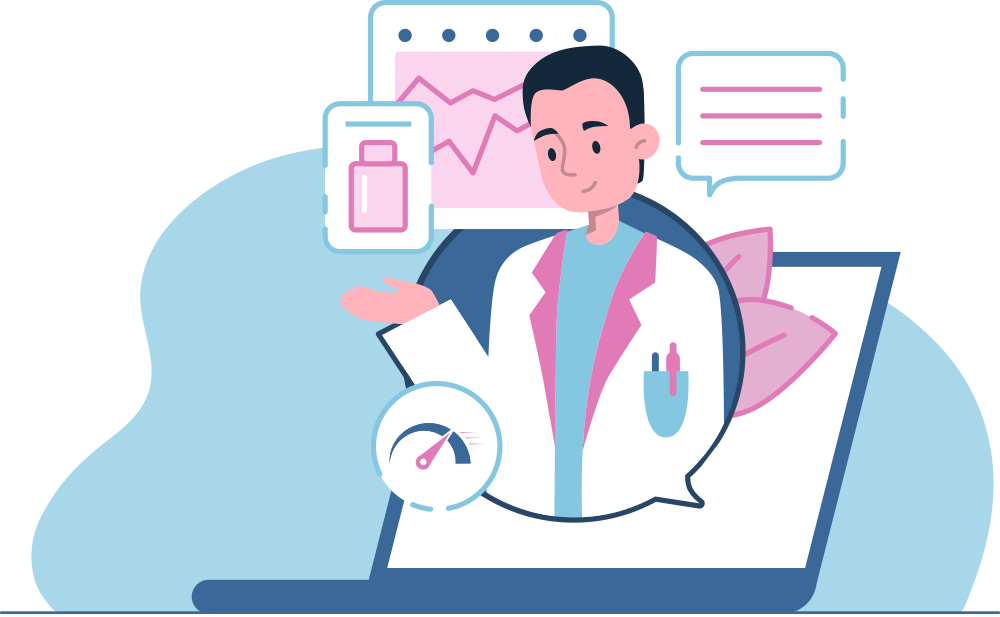 Illustration of pharmacist offering advice through a laptop screen