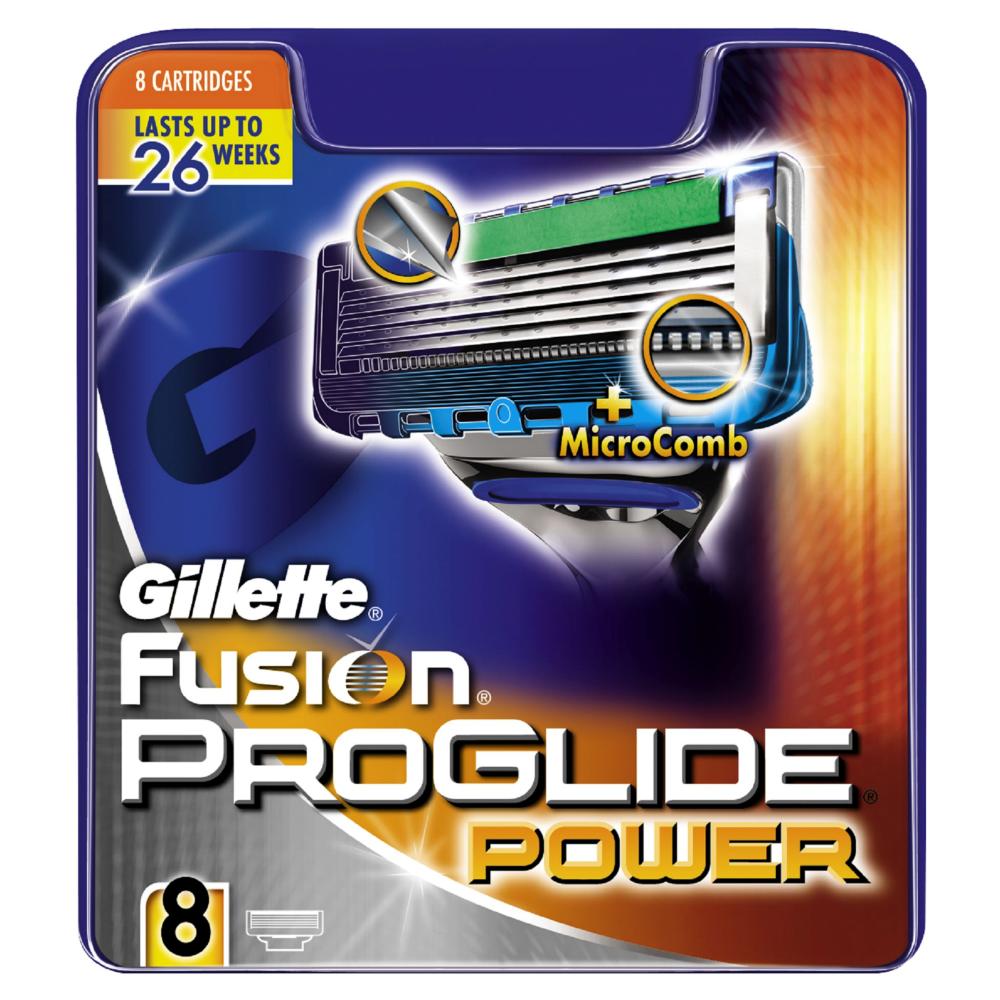 Gillette Fusion Proglide Power Mens Razor Blades 8 Count