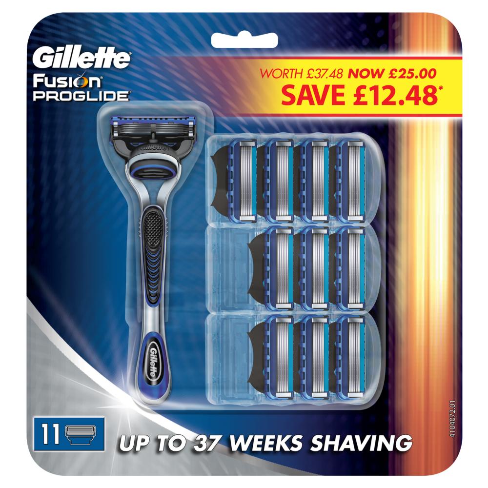 Gillette Fusion Proglide Razor With 10 Blades