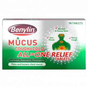 Benylin Mucus Cough & Cold All In One Relief – 16 Tablets