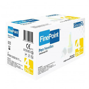 GlucoRx Finepoint Needles 4mm 31g - Pack of 100