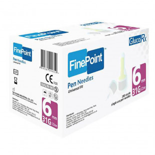 GlucoRx Finepoint Needles 6mm 31g - Pack of 100