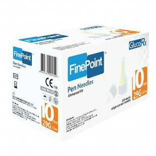 GlucoRx Finepoint Needles 10mm 29g - Pack of 100
