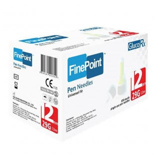 GlucoRx Finepoint Needles 12mm 29g - Pack of 100