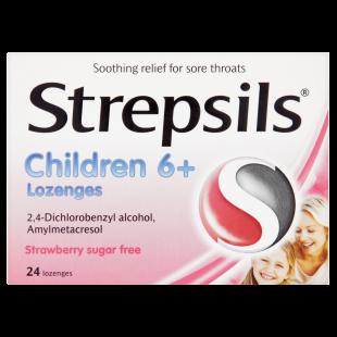 Strepsils Children 6+ Strawberry Sugar-Free – 24 Lozenges