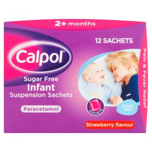 Calpol Sugar Free Infant Suspension Strawberry 12 Sachets