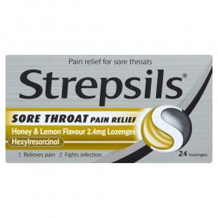 Strepsils Sore Throat Pain Relief Honey & Lemon - 24 Lozenges