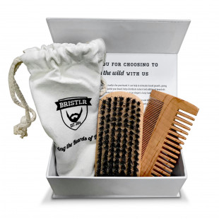 BRISTLR Beard Brush And Comb Set with Gift Bag