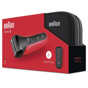 Braun 300TS Shaver Series 3 Red Toiletry Bag Gift Set For Men