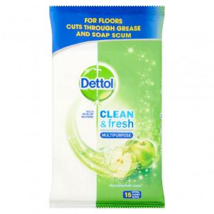 Dettol Clean & Fresh Multipurpose Refreshing Green Apple - 15 Wipes