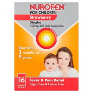 Nurofen For Children Strawberry 100mg/5ml Sachets - Pack Of 16