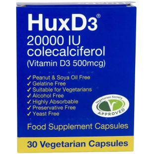 HuxD3 Colecalciferol 20000IU (500mcg) Vitamin D3 - 30 Capsules