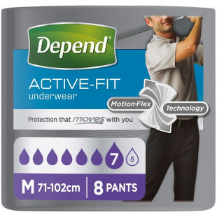 Depend Active-Fit Incontinence Underwear for Men - Medium x 8