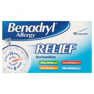 Benadryl Allergy Relief – 12 Capsules