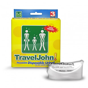 TravelJohn Resealable Disposable Urinal - 3 Pack