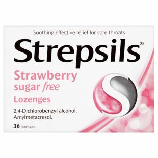 Strepsils Strawberry Sugar-Free – 36 Lozenges