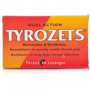Tyrozets Dual Action Sore Throat Relief - 24 Lozenges