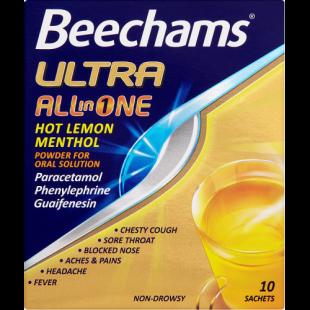 Beechams Ultra All In One Hot Lemon Menthol – 10 Sachets