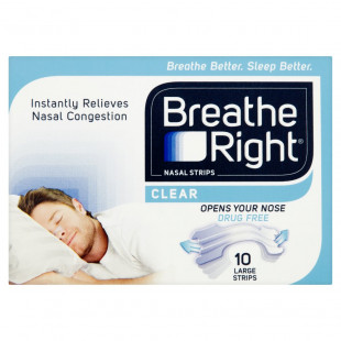 Breathe Right Nasal Strips Clear - 10 Large Strips