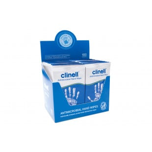 Clinell Individually Wrapped Antibacterial Hand Wipes - 100 Sachets