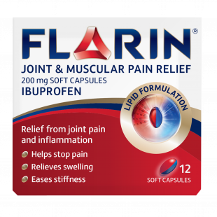 Flarin Joint and Muscular Pain Relief 200mg Soft Capsules - 12 Capsules