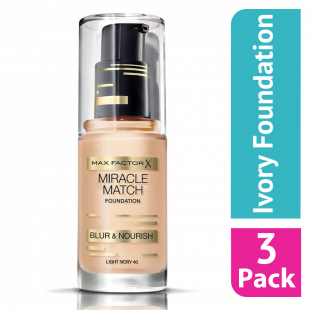 Max Factor Miracle Match Foundation 40 Ivory - (Case Of 3)