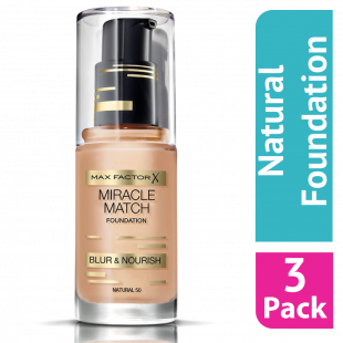 Max Factor Miracle Match Foundation 50 Natural - (Case Of 3)