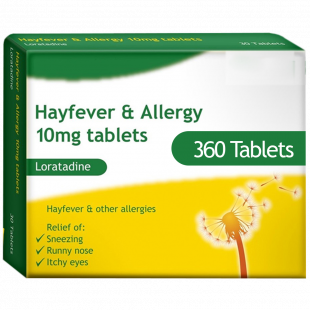 Loratadine (10mg) - Hay Fever & Allergy Relief - 360 Tablets
