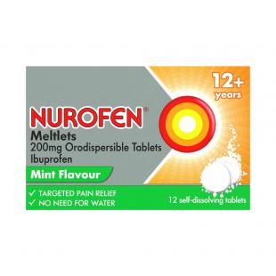 Nurofen Meltlets 200mg Ibuprofen From 12 Years Mint - 12 Tablets