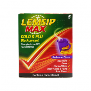 Lemsip Max Cold And Flu Blackcurrant - 5 Sachets