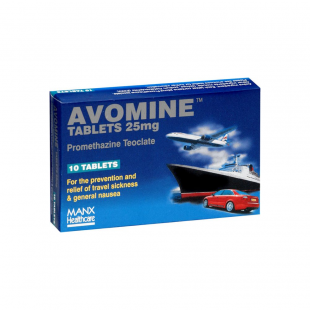 Avomine Travel Sickness 25mg (Promethazine) - 10 Tablets