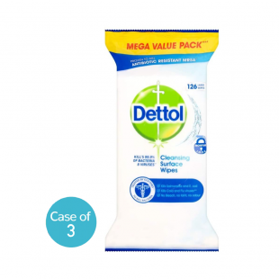 Dettol Antibacterial Surface Cleaning Wipes 126 Pack - (Case of 3)