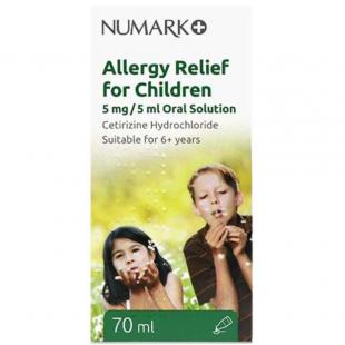 Cetirizine Allergy Relief For Children 5mg/5ml Oral Solution - 70ml