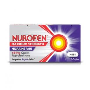 Nurofen Maximum Strength Migraine Pain 684mg Caplets - 12 Pack