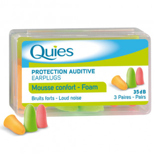 Quies Bright Colour Foam Earplugs - 6 Pairs