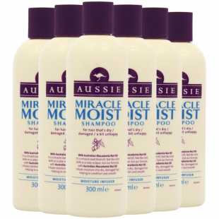 Aussie Miracle Moist Shampoo 300 ml - Pack of 6, Cruelty free