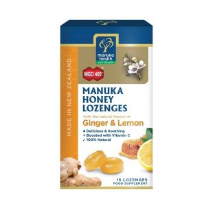Manuka Health Honey Drops Ginger & Lemon - 15 Lozenges