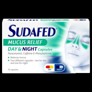 Sudafed Mucus Relief Day & Night Capsules – 16 Capsules