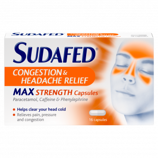 Sudafed Congestion and Headache Relief Max Strength - 16 Capsules
