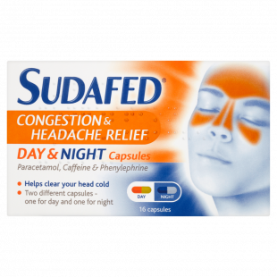 Sudafed Congestion & Headache Day & Night – 16 Capsules