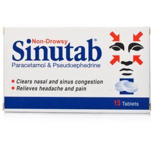Sinutab, congestion relief, 15 tablets
