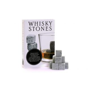 Whisky Chilling Stones Deluxe Gift Set - Set of 9 Grey Rocks With A Velvet Pouch