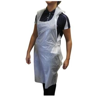 White Single Use Loose One-Size Apron Pack of 100