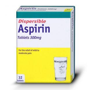 Aspirin Dispersible Tablets 300mg - 32 Tablets (Brand May Vary)