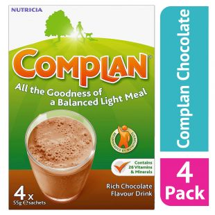 Complan Chocolate Nutritional Drink Sachets - 4 x 55g (Case Of 4)