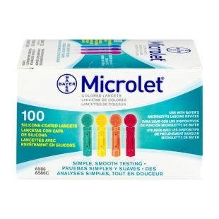 Bayer Microlet Coloured Lancets -100 Lancets