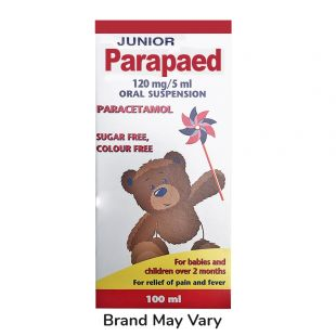 Paracetamol Cherry Suspension - 120mg/5ml x 100ml (Brand May Vary)