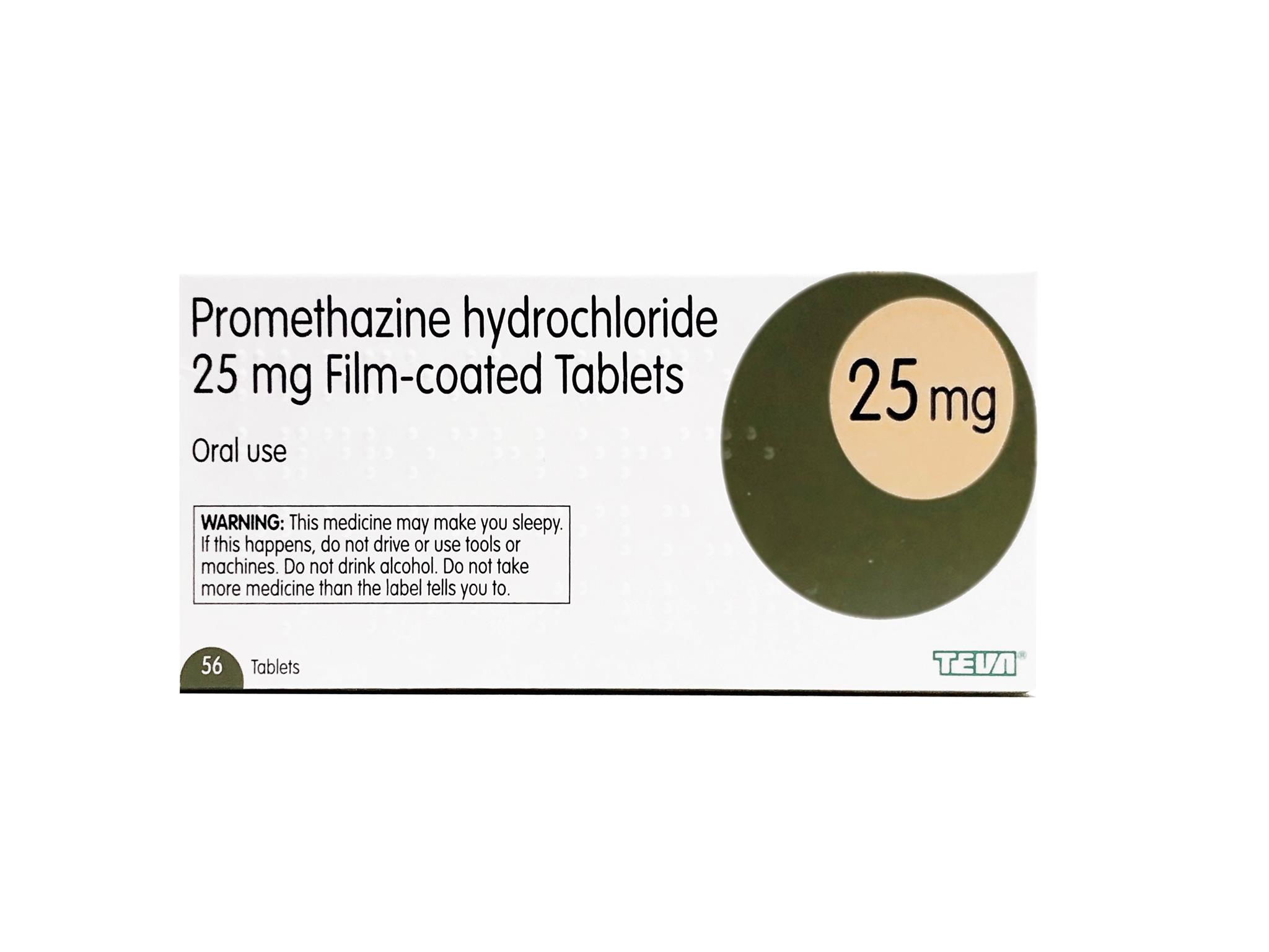 Promethazine Hydrochloride - 56 x 25mg Tablets (Brand May Vary)