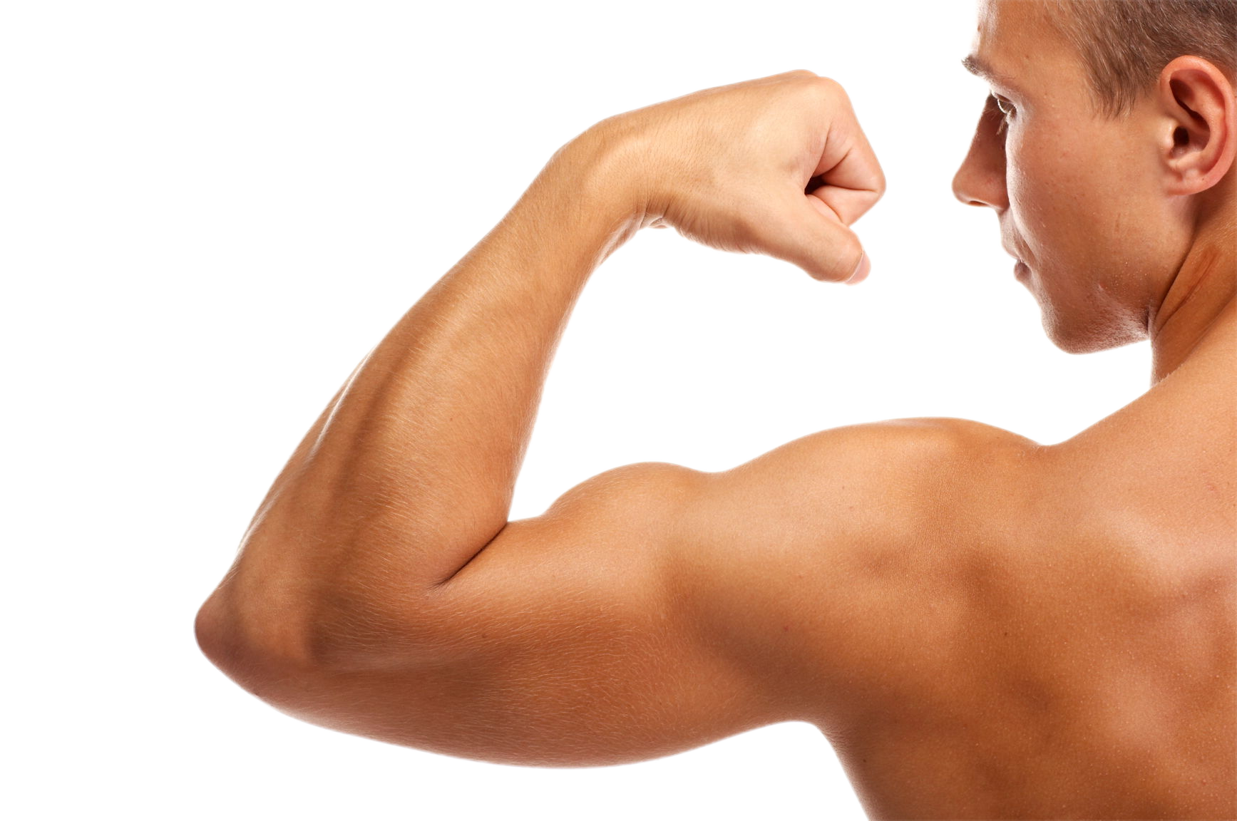 man flexing the muscles on his left arm with his back to the camera