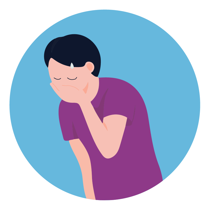 illustration of a man feeling sick and covering his mouth